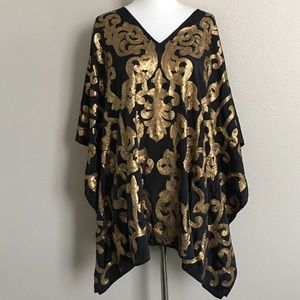CHICOS Poncho Gold Sequins